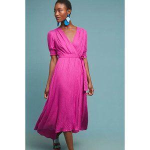 Maeve Breanna Textured Midi Wrap Dress Pink 4
